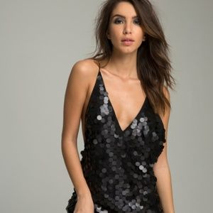 Motel Finn Disc Sequin Slip Dress